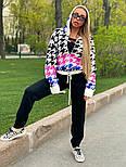 Жіночий в'язаний костюм з кофтою гусяча лапка з капюшоном vN7714, фото 4