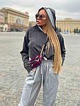 Жіночий брючний костюм зі штанами на манжетах і кофтою худі з блискітками vN7715, фото 2
