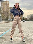 Жіночий брючний костюм зі штанами на манжетах і кофтою худі з блискітками vN7715, фото 3