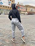 Жіночий брючний костюм зі штанами на манжетах і кофтою худі з блискітками vN7715, фото 5