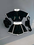 Жіночий літній костюм з шортами і топом з світловідображення vN7719, фото 2