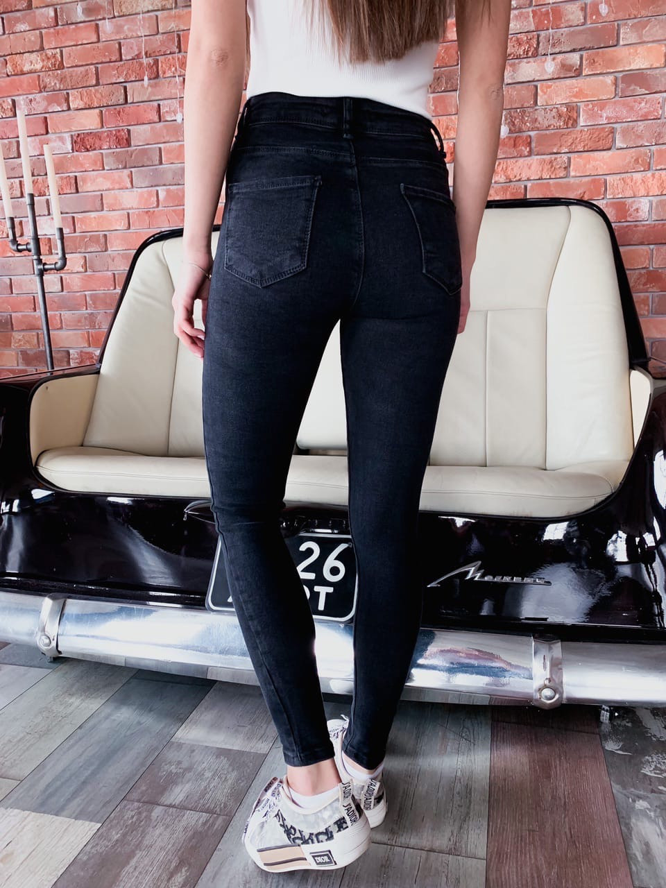 Черные женские джинсы скинни стрейч  vN7741