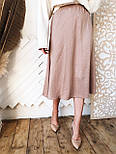 Шелковая женская юбка миди расклешенная  vN7744, фото 7