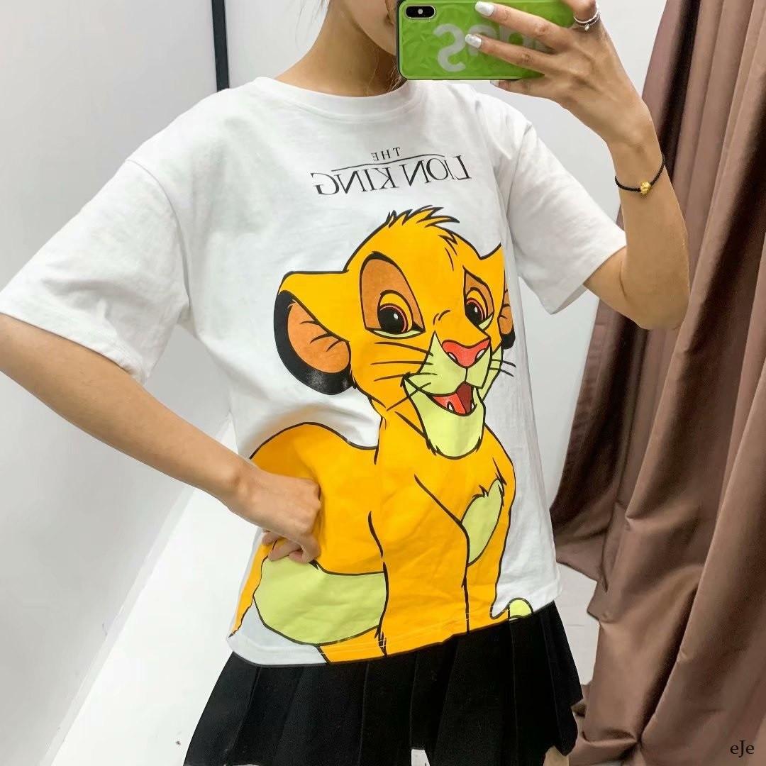 Женская белая футболка с рисунком Симба  vN7753