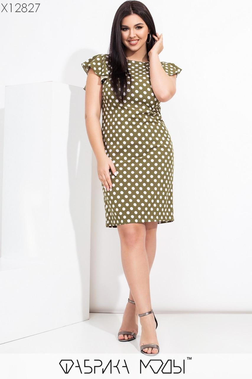 Приталенное платье в больших размерах в горошек с коротким рукавом  vN7763