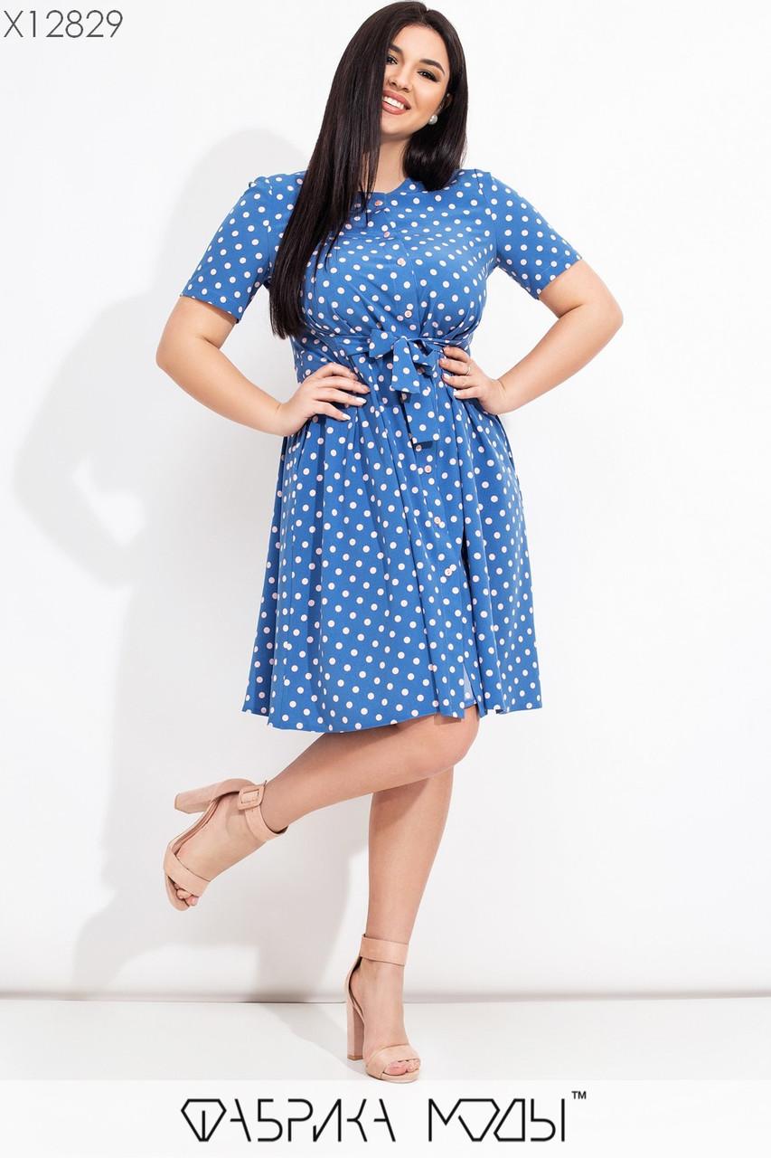 Принтованное платье в больших размерах до колен с расклешенной юбкой и коротким рукавом  vN7764