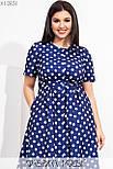 Принтованное платье в больших размерах до колен с расклешенной юбкой и коротким рукавом  vN7764, фото 3