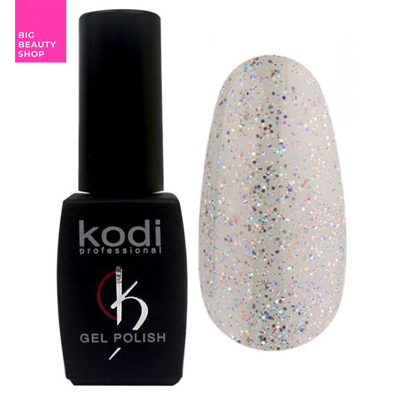 """Гель-лак для ногтей Kodi Professional """"Shine"""" №SH070 Голографическое серебро на прозрачной основе 8 мл"""