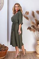 Летнее льняное платье широкого кроя большие размеры!