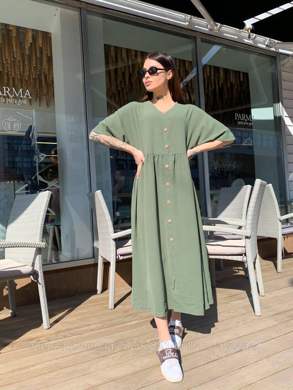 Летнее льняное платье широкого кроя 42-48, 48-50, 52-54, 56-58 размеров