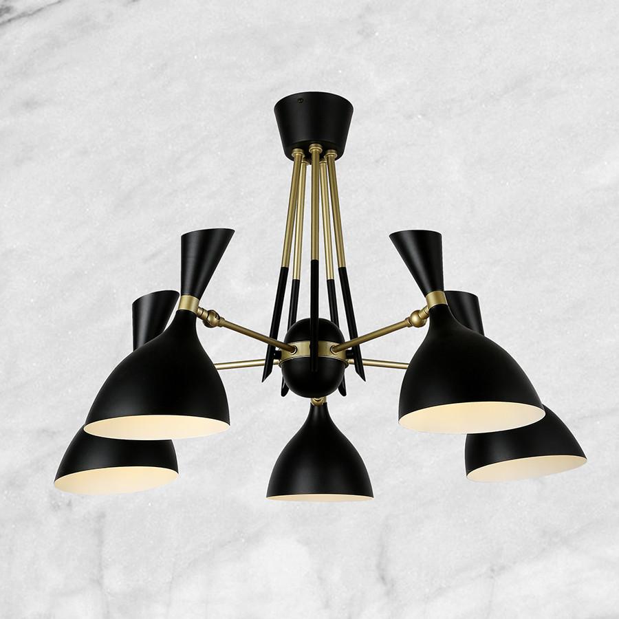 Люстра чёрная на 5 ламп