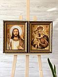Янтарная пара икон , ікони з бурштину пара 20x30 см, фото 2