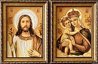 Янтарная пара икон , ікони з бурштину пара 20x30 см