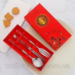 Подарочный набор ложка, вилка, китайские палочки для суши, фото 2