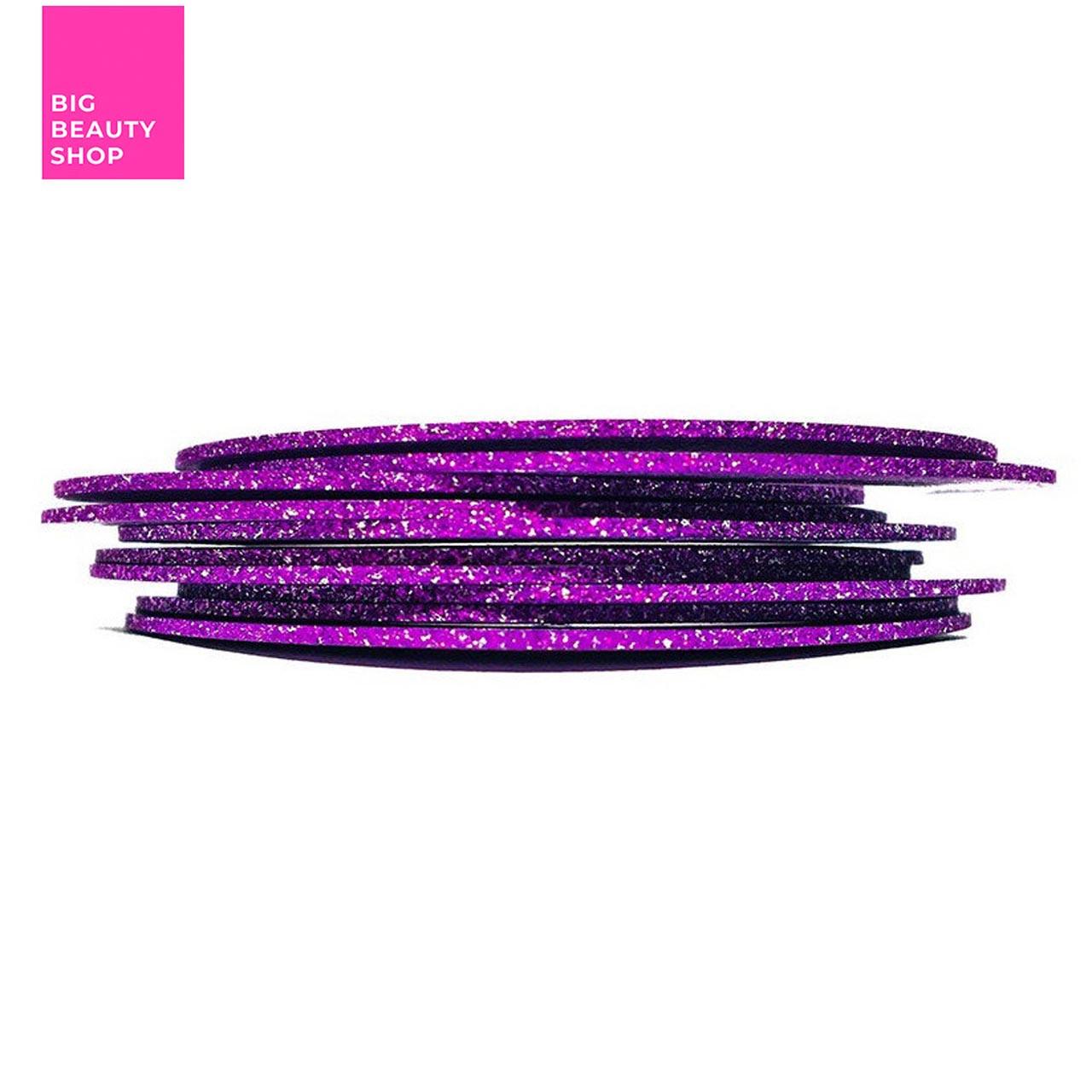 Голографическая полоска для ногтей ANVI 1 мм (фиолетовая с блестками)