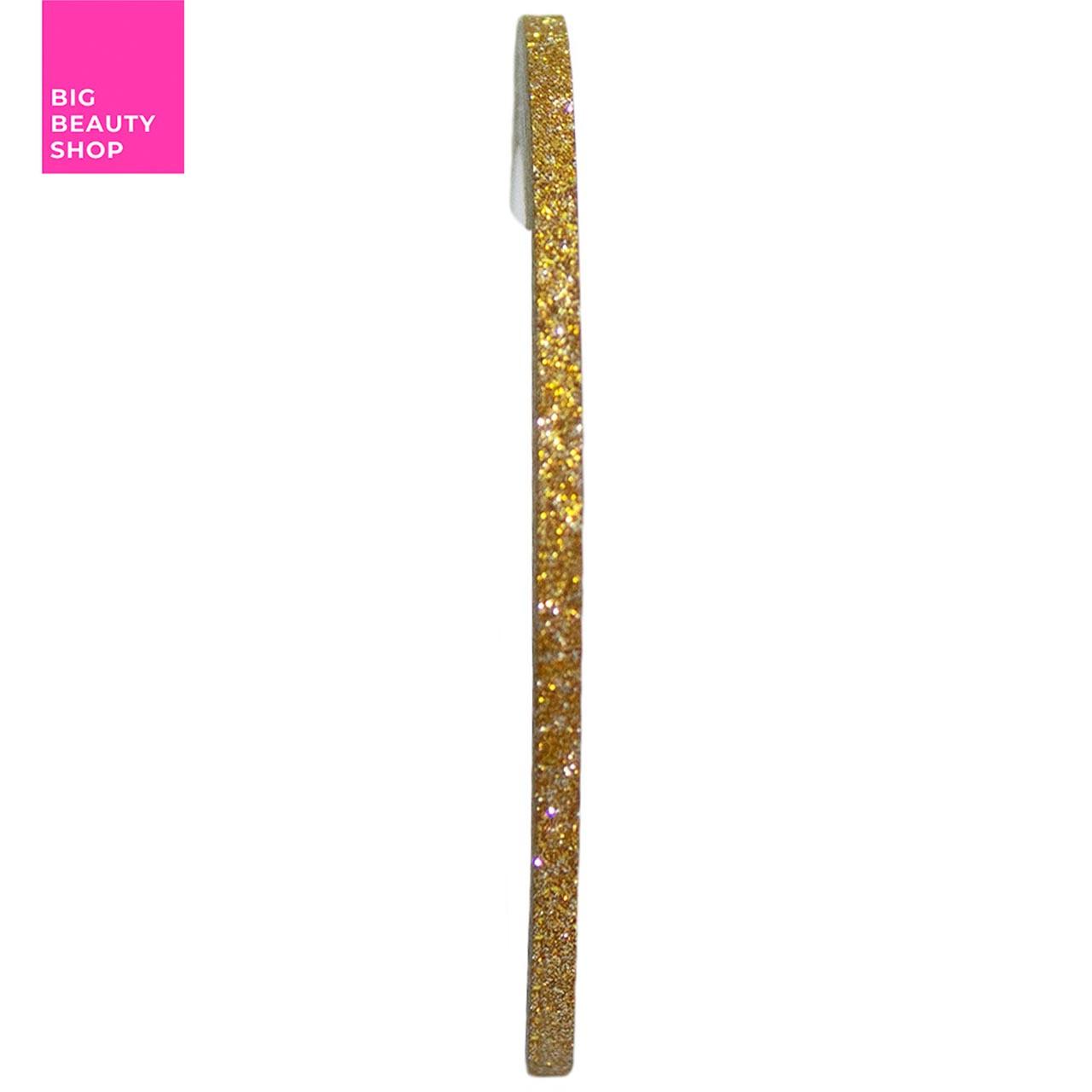 Голографическая полоска для ногтей 2мм (золотая с блестками)