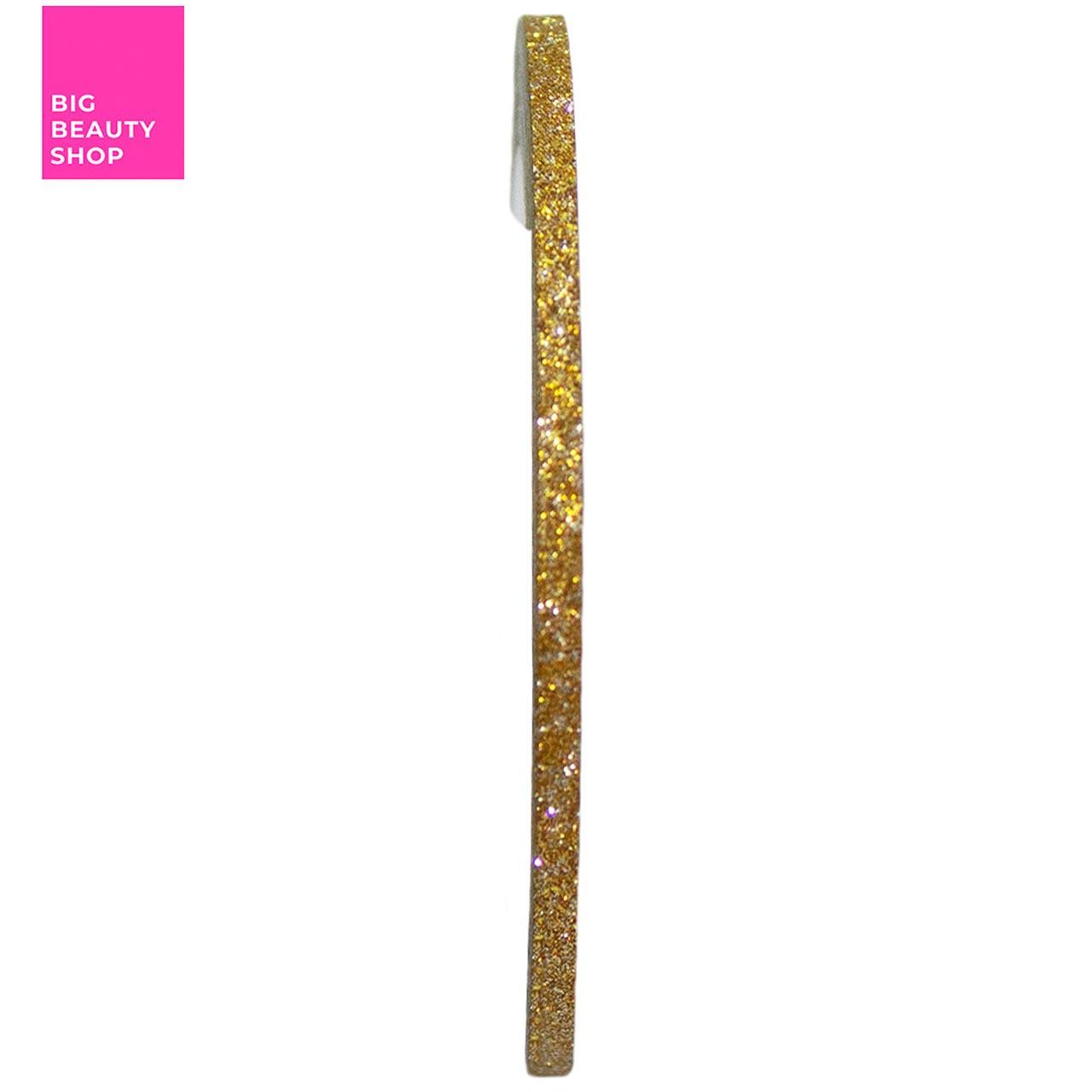 Голографическая полоска для ногтей ANVI 2 мм (золотая с блестками)