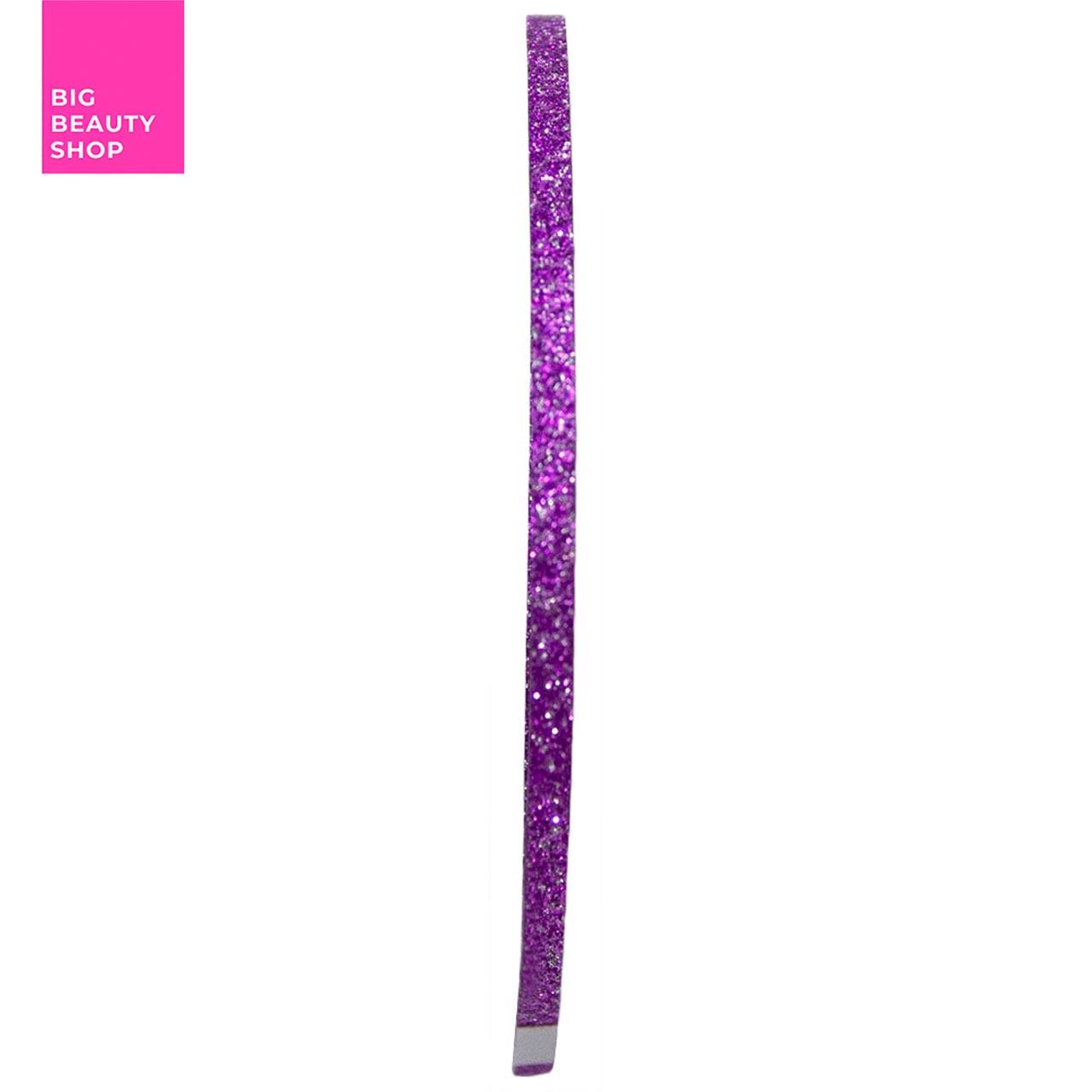 Голографическая полоска для ногтей 2 мм (фиолетовая с блестками)