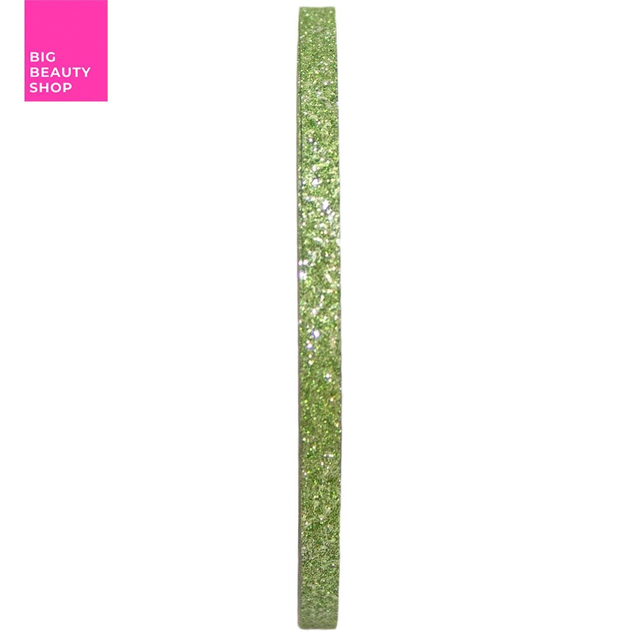 Голографическая полоска для ногтей 3 мм (зеленая с блестками) А429