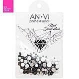 Стразы сваровски ANVI Professional MIX черные №18 200 шт, фото 2