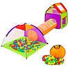 Комплект дитячих ігрових наметів з тунелем для дітей + 200 кульок
