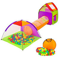 Комплект дитячих ігрових наметів з тунелем для дітей + 200 кульок, фото 1