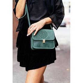 Кожаная женская бохо-сумка Лилу зеленая