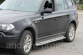 Пороги боковые (подножки-площадка) BMW X3 2003-2010 (Ø51)