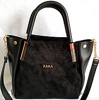 Женская черная сумка Zara из натуральной замши 25*23 см, фото 1
