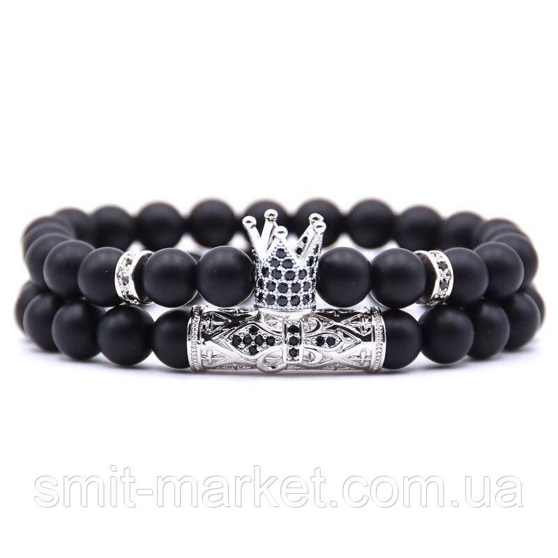 Модные браслеты со вставками и Короной, 2 шт