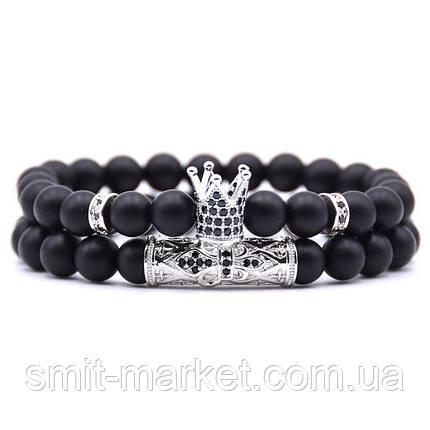 Модные браслеты со вставками и Короной, 2 шт, фото 2