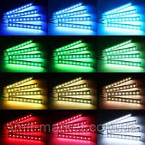 🚇 🔊 Цветная подсветка для авто  RGB 12 led режим свето музыки, фото 3