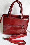 Женская бордовая сумка-портфель с длинным ремешком и ручкой 31*25 см, фото 2