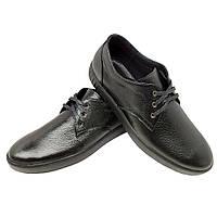 Туфли спортивные черные натуральная кожа на шнуровке (9f)