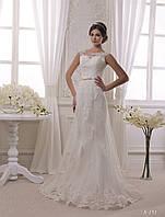 Изумительное свадебное платье-русалка с накладной юбкой, расшитое цветочными аппликациями