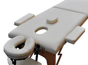 Массажный стол  деревянный ZENET  ZET-1042 CREAM размер L ( 195*70*61), фото 2