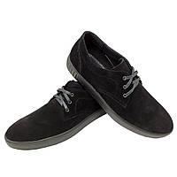 Туфли спортивные черные натуральная замша на шнуровке (9z), фото 1
