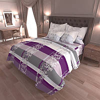 Комплект постельного белья Цветочная полоса белая  - 4 размера материал Gold Полуторный