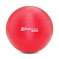 Фитбол для фитнеса и йоги 65 см Hop-Sport красный + насос для дома и спортзала с нагрузкой до 100 кг
