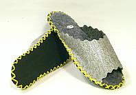 Войлочные шлёпанцы с серебристым напылением с шнурком лимонного цвета, фото 1