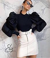 Женская стильная юбка из эко кожи с фигурным вырезом, фото 1