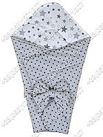Летний конверт на выписку Звездочки серый с белым