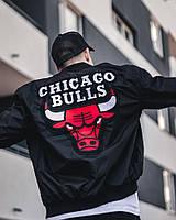 Куртка бомбер ветровка мужская черная Chicago Bulls