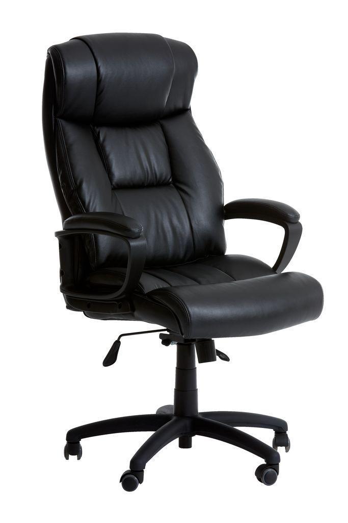 Кресло руководителя офисное кожаное на колесиках черное (кресло руководителя)