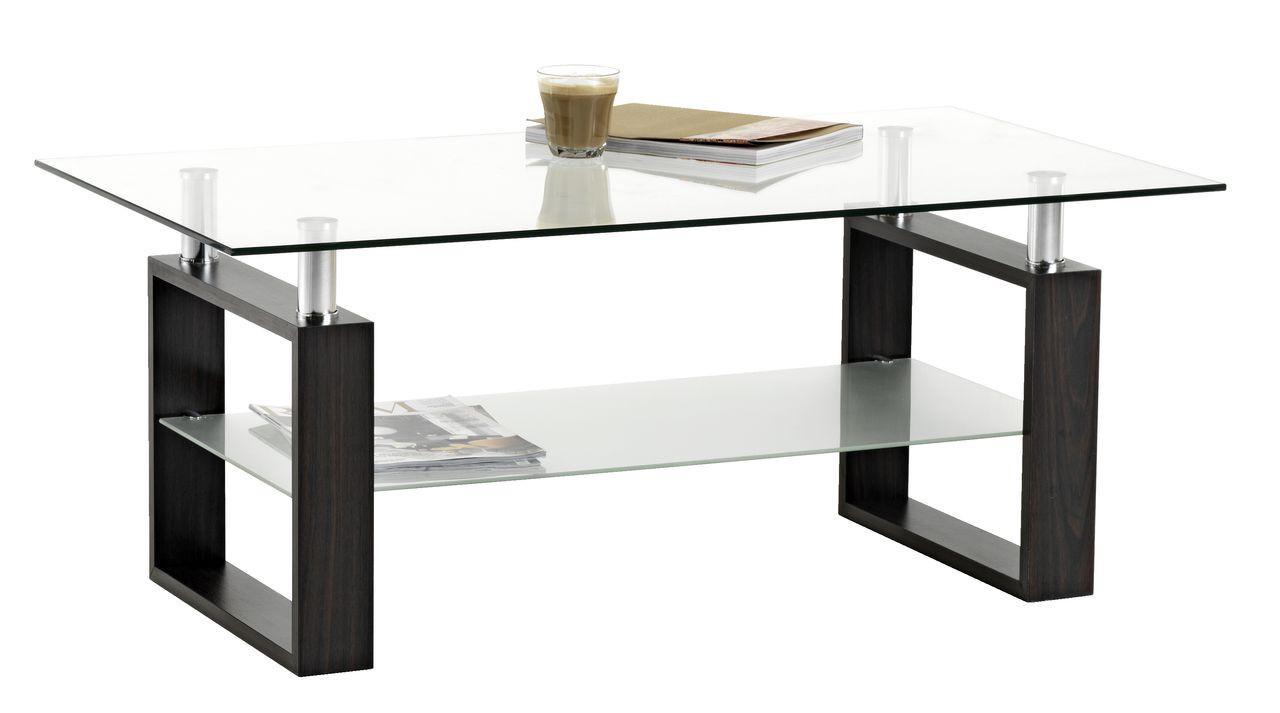 Столик стеклянный кофейный с полкой 60х110х45см