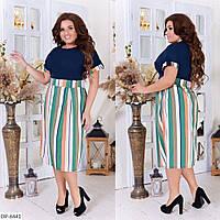 Комбинированное летнее платье в больших размерах 50-56 арт 2271