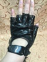 женские перчатки Лаковая  кожа(Натуральная) без пальцев
