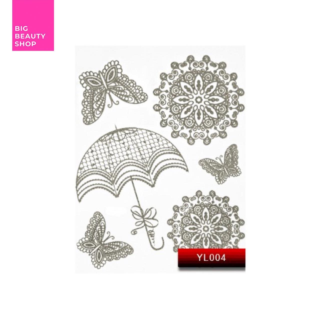 "Наклейка для дизайна ногтей Kodi Professional ""Silver"" Nail Art Stickers YL004"
