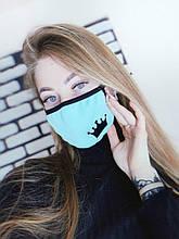 Маска Intrudet многоразовая тканевая Бирюза (Msk 1/2 maska-korona-zelenaja)
