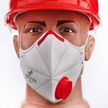 Респиратор Маска Микрон FFP3 с клапаном  1000 шт Белый с красным (20126)